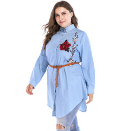 Plus Size Floral Shirt NZ - Women 5XL 6XL Plus Size Blouse Tops Floral Embroidery Summer Camisa Feminina Turn Down Collar Long Sleeve Casual Long Shirt 2018
