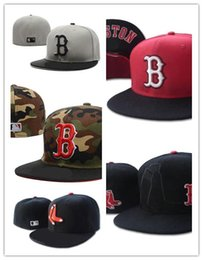 Red hats online shopping - New Boston Red Sox In Full Black Color Fitted Flat Hats sox Embroidered Closed Caps Chapeu Hip Hop Design Bones One Piece