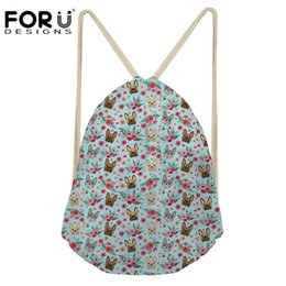 Discount french bags brands - FORUDESIGNS Brand Drawstring Bag Cute French Bulldog Floral Prints Daypack Travel Beach Storage Backpack School Lovely R