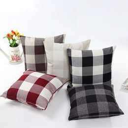 Wholesale Classic large lattice pillowcase Natural linen home decorative plaid Pillow cover Living room bed office cushion cover cm colors C5293