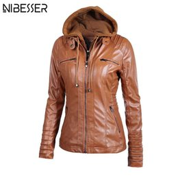 88490add20d4 Wholesale- 2017 Plus Size Hooded Faux Leather Jacket Women Autumn Winter  Motorcycle Jacket Long Sleeve Hat Detachable PU Leather Slim Coat
