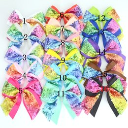 Baby Sequin Hair Clips Wholesale Australia - 16 color Baby Girls Hair Bow DIY Accessories Infants Sequin Bows without Clips Kids Boutique Colorful Gradient Hairbows