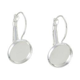 $enCountryForm.capitalKeyWord UK - Hot 10pcs DIY Jewelry Round Cabochon Bezels Tray Hoop Earrings Settings Earring Base Round Earring Hooks 12mm DIY Jewelry