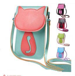 Discount fashion cat cartoon - Fashion women shoulder crossbody mini bag messenger new cute cat cartoon PU leather phone handbag top quality