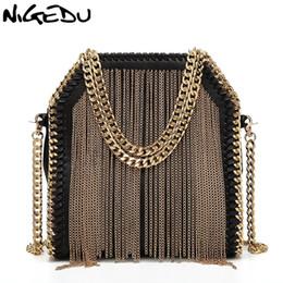 Chain Designs Handbags Australia - NIGEDU brand design metal tassel women handbag small Weaving chain Women's Shoulder bag lady Crossbody messenger Bags bolsas