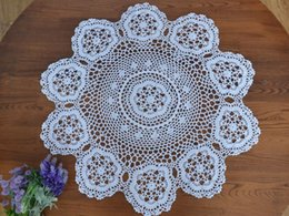 Kitchen Place Mats Canada - Round HOT Coon Place table mat lace pad cloth crocheted felt placemat doily cup mug holder handmade coaster kitchen accessory