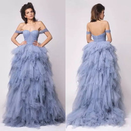 $enCountryForm.capitalKeyWord NZ - Dusty Blue Off Shoulder Evening Gowns 2016 Sweetheart A-line Tiered Ruffles Vintage Prom Party Dresses Custom Made