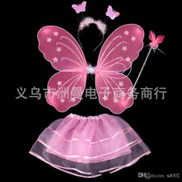 Wholesale Kids Performance Costume Prop Butterfly Angel Wing Magic Bar Monolayer Four Piece Suit Color Fairy Wand zm ii