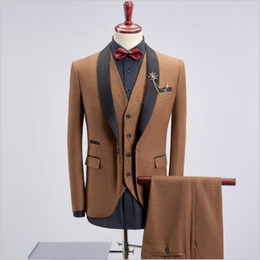 fitted tuxedos NZ - Spring Autumn New Men's Shawl Lapel Suits Korean Version Fitted Groom Wedding Tuxedos Three-Piece (Blazer+Pant+Vest) Suits For Sale