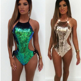 Novas Mulheres One-Piece Swimsuit Ouro Verde Beachwear Swimwear Sexy Backless Lantejoulas Push-up Monokini Biquíni Banhos Monokinis
