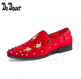red velvet wedding dresses 2019 - 2019 Embroidery loafers men velvet shoes designer Black RED Men Smoking Slippers slacks male wedding and Party Dress Sho