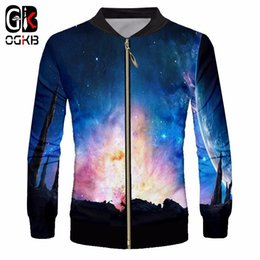 a0076913564 Graphic Jackets NZ - OGKB New Men s Casual Jackets Graphic Print Blue  Galaxy Space 3d Zip Find Similar