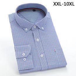 Large Mens Dress Shirts Canada - New comming autumn plaid Mens cotton shirts formal dress shirts very big large plus size XXL-4XL 5XL 6XL 7XL 8XL 9XL 10XL