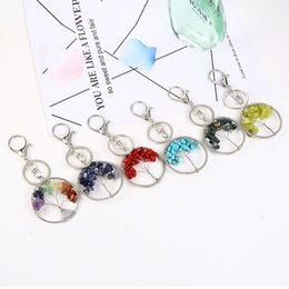 $enCountryForm.capitalKeyWord Australia - Free DHL 6 Colors Natural Crystal Stone Tree of Life Pendant Keychains Handmade Keyring Car Key Holder for Women Fashion Accessories G593Q F