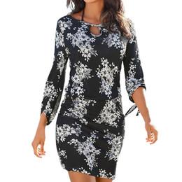 e0cbd5e0309 Pencil cut dress long sleeves online shopping - Floral Printed Bohemian  Dress Women Cut Out O