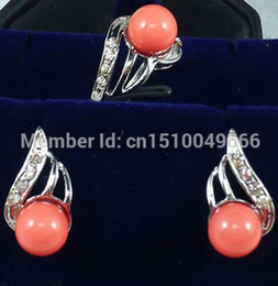 Discount wedding colors silver coral - Hot sale FREE SHIP>>>>beautiful silver plate coral earring ring 7 8 9# Set