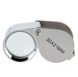 Опт Складной 30X металл увеличительное лупа ювелир стекло объектива ювелирные изделия лупа