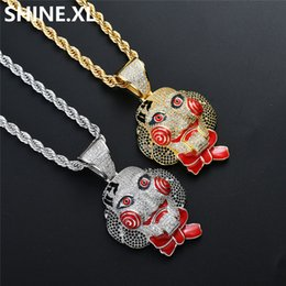 Chinese  Hip Hop Joker Iced Out Chainsaw Mask Doll Pendant Necklace Gold Silver Color Plated Charm Necklace for Men Halloween Cosplay Jewelry Gift manufacturers