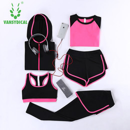 Discount sportswear costume for women - Women's Track Suits Tights Leggings 5 Piece Women Gym Fitness Yoga Suit Sport Costumes For Women Jogging Sportswear