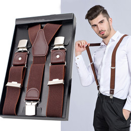 Male Suspenders Leather Jacquard 3 clips western-style trousers Man braces cinturino Adjustable Suspender 7 color braces bretel from mens skinny trousers suppliers