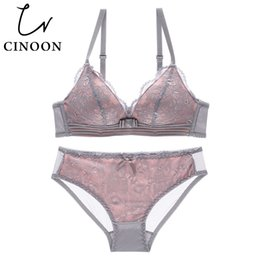 $enCountryForm.capitalKeyWord NZ - CINOON NEW Sexy Intimates Bra Set female wire free Underwear Lace Lingerie Push Up bralette Comfortable Bra and panty Sets
