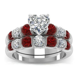 $enCountryForm.capitalKeyWord UK - Drop Shipping High Quality Vintage Fashion Jewelry 925 Sterling Silver Pear Cut Topaz&Ruby CZ Gemstones Women Wedding Bridal Heart Ring Set