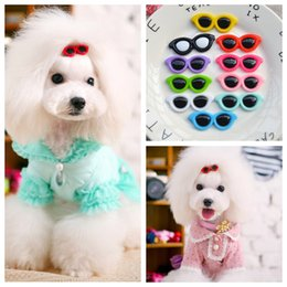 hair fall products NZ - 30pcs lot New Dog Hair Clips Love Design Sunglasses Style Cute Dog Cute Bowknot Bows Pet Grooming Products Hair Bows Topknot Alloy Clips