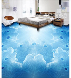 Korean Wedding Cloth Canada - Wholesale-Custom Photo Floor Wallpaper Cloud Peacock 3D three-dimensional floor PVC Self-adhesive Floor Murals Wallpaper decor Painting