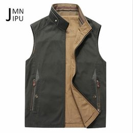 motorcycle vests 2019 - JI PU Thickness Cotton Material Stand Collar Sleeve Summer autumn Off-road motorcycle Outwear,double sided solid tooling