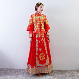 cfe0b1d4d Ancient marriage costume the bride clothing gown traditional Chinese  wedding dress women cheongsam embroidery phoenix red Qipao