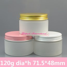 50pcs lot 120g Plastic Jars, 4oz Frosted containers Natural Thick Wall Polypro Jars w  Metal Gold Pink White Lined Aluminum Cap on Sale