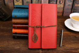 Discount vintage loose leaf paper - Vintage Leaf notepad Creative student Notebook Classical Travel Diary With Leaf Loose Sheet Vintage Gift blank sketches