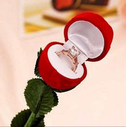 wedding display cases NZ - omantic Red Rose Flower Velvet Wedding Ring holder Earrings Storage Display Case Pendants Jewelry Gift Box Valentines Day birthday gifts