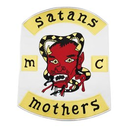 Bikers Back Patches NZ - Hot Satans Mothers MC Club Biker Vest Embroidered Patch Full Back Large Pattern For Rocker Biker Vest Patches for clothing Free Shipping