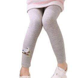 birds leggings NZ - 2017 Baby Kids Girls Cotton Pants Embroidery Bird Warm Stretchy Leggings Trousers Hot