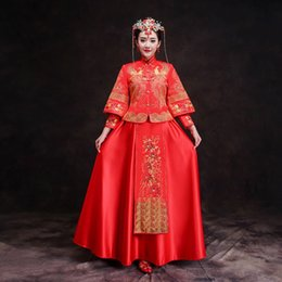 $enCountryForm.capitalKeyWord NZ - New Red traditional chinese wedding dress Qipao National Costume Womens Overseas Chinese Style Bride Embroidery Cheongsam S-XXL