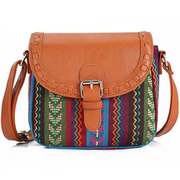 nude color leather handbag 2019 - 2017 Vintage Fabric Boho Aztec Tribal Female Handbag Women Crossbody Bag Ladies Shoulder Bag with PU Leather Messenger c