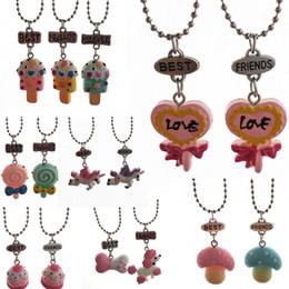 Poodle Pendants Wholesale NZ - Best friends forever Lollipop cake pendant necklace child unicorn Poodle dog bone necklace jewelry Emulation ice cream pendants drop ship