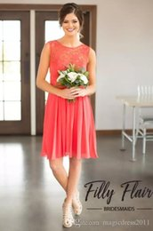 Lace Coral NZ - 2018 New Elegant Coral Bridesmaid Dresses Country Style Knee Length Short Prom Dresses A Line Chiffon Lace Top Cheap Wedding Guest Dresses