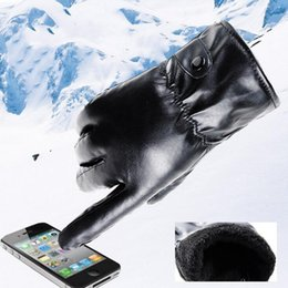 $enCountryForm.capitalKeyWord NZ - Mens PU Leather Gloves Winter Super Warm Touch Gloves Outdoor Driving Black Cashmere Hiver Mittens