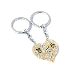Best Friends Keychains UK - 2 pcs set Broken Heart Big Lil Sister Pendant  Necklace Keychain 58e8de5113