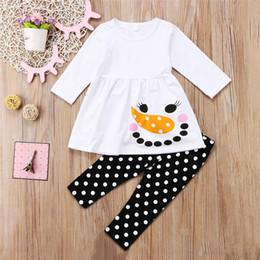 neck face clothing 2019 - Kids Baby Girls Clothes Long Sleeve T-shirt Tops Dress +Pants 2PCS Set Snowman Face Christmas Dot Kid Clothing Set Outfi