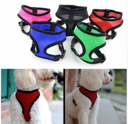 Discount led dog collar chest - 15 color Mesh Harness Pet Control for Dog Cat Soft Walk Collar Safety Strap Vest Outdoor Lead Halter Chest Strap Harness