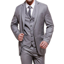 Grey tuxedo styles online shopping - Three Piece Gray Wedding Groom Tuxedos Classic Style Formal Bussiness Men Suits Notched Lapel Grey Best Suit Jacket Pants Vest