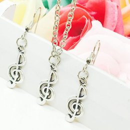 musical note necklaces NZ - 2018 New Hot Popular Antique Silver Musical Note Charms Pendant Necklace Earring Set Fashion Creative Women Jewelry Accessories Holiday Gift