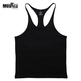 solid racerback tank tops wholesale Canada - Gyms Tank Top Men Blank Bodybuilding Clothing Stringer Singlets Fitness Men Gyms Sleeveless Coon Racerback Workout
