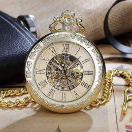 Unique Watches For Men Australia - 1 Pcs Luxury Unique Carveing Roman Number Full Steel Necklace Pendant Fob Chain Hand-Winding Mechanical Pocket Watches For Women Men