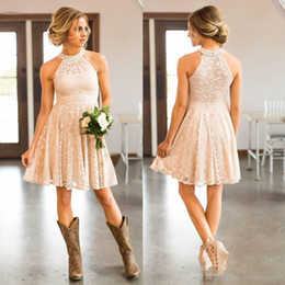 Wholesale Cheap Short Lace Country cowgirls Bridesmaids Dresses Pearls Halter Neck pink Knee length Boho Beach Maid of Honor Wedding Guest Party Dress