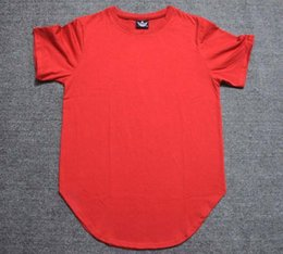 Oversized Shirt Swag Men Canada - Man blue red Fashion Summer Tees Men Extended Hip Hop T shirt Oversized Tyga Swag Clothes Casual Streetwear