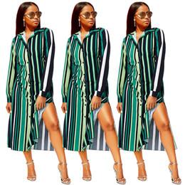 bcb0ee5546388 Long Shirt Dress Side Slits Australia - new women autumn multi colors  stripes turn-down
